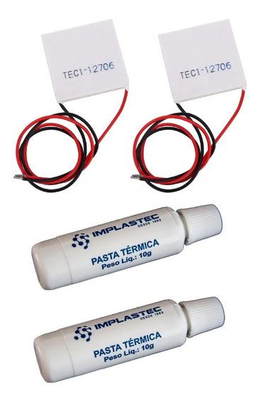 Kit 2 Pastilha Termoelétrica Tec1-12706 + 2 Pasta Termica