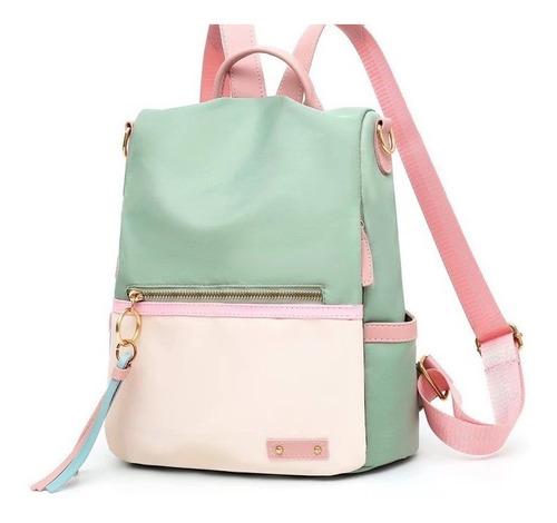 Imagen 1 de 1 de Mochila Mujer Moda Impermeable Antirrobo Backpack Verde Agua