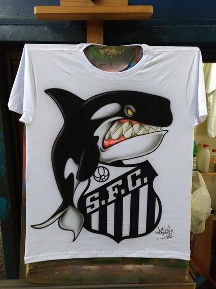 Camisa Santos F.c, Baleia, Aerografia, Grafitada, Futebol.