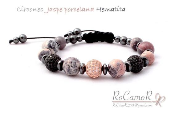 Pulsera #rocamor Jaspe Porcelana Hematita Y Circones
