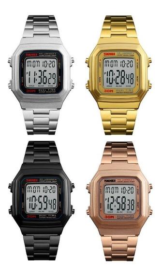 4 Relógio Masculino Skmei 1337 Digital Quadrado Barato Revenda Atacado Similar Casio