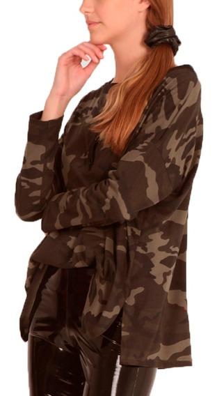 Remera Manga Larga Murcielago Amplia Camuflada Militar Mujer