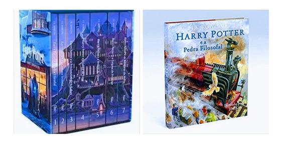 Box Coleção Harry Potter Completa 7 Livros + Pedra Filosofal