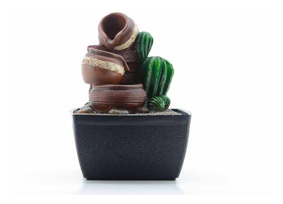 Fuente C/ Led Jarrón C/cactus 17 Cm, 1 Unidad