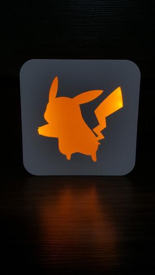 Luminária Abajaur Lanterna Led - Pikachu Pokemon