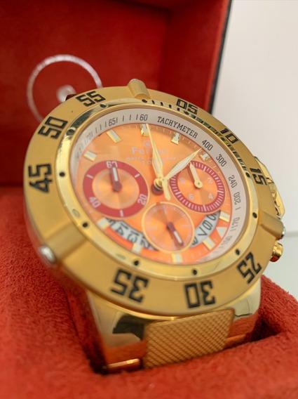 Relogio Masculino Ferrari Dourado Original Luxo Promocao