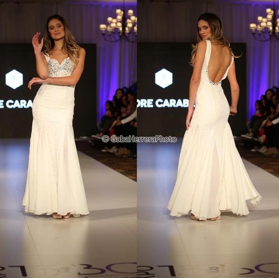 Vestido Largo Novia Encaje Natural Con Espalda Descubierta Corte Sirena Bordado Con Pedreria Cristal Moda Pasión
