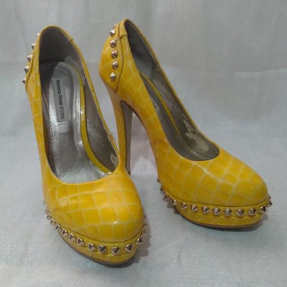 Sapato Scarpin Salto Meia Pata Morena Rosa Amarelo Spikes 34