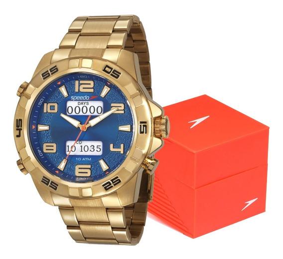 Relógio Masculino Speedo Dourado Digital Analógico Esportivo Grande Pesado Prova D