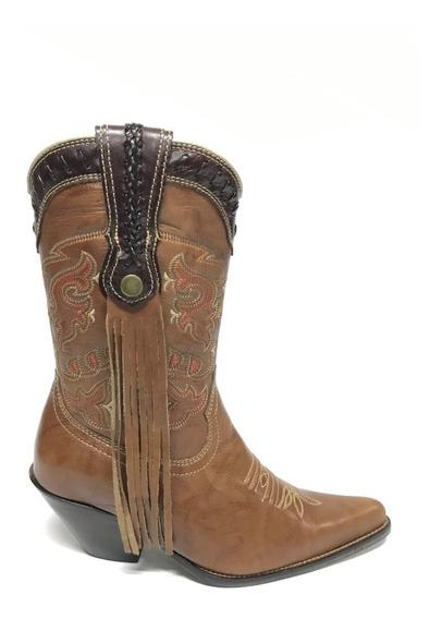 Bota Texana Country Feminina Vimar Marrom Bico Fino Com Franja 100% Couro - Durabilidade Máxima Com Costura Reforçada!