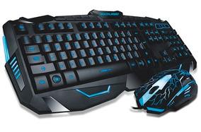 Kit Teclado E Mouse Gamer Com Fio Lighting Azul Tc....
