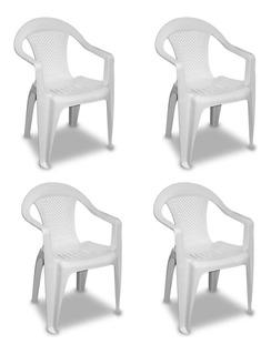 Set 4 Sillas Plastico Blanca California Resistente Apilable