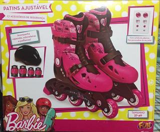 Patins Barbie 4 Rodas 37/40 Ajustavel C/acessorios Bonellihq