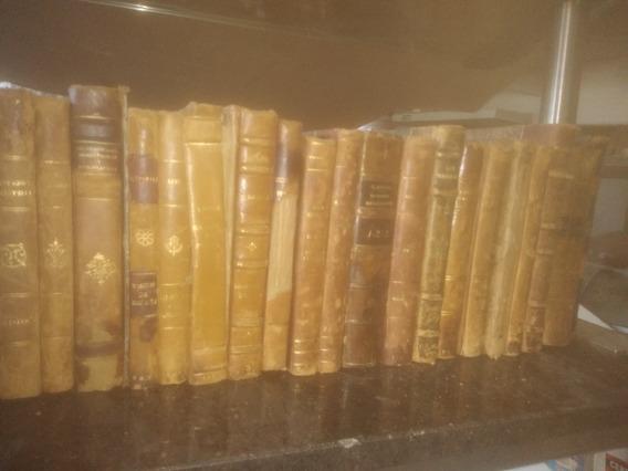 Lote De 10 Libros Antiguos Lomo De Cuero Para Decoracion