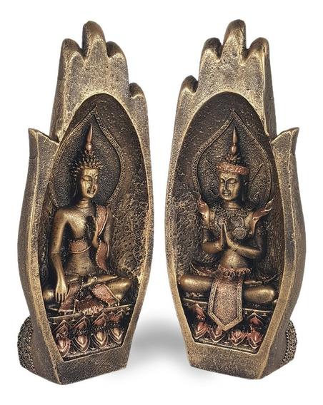 Casal Buda Híndu Mão Namastê Enfeite Decorativo Em Resina