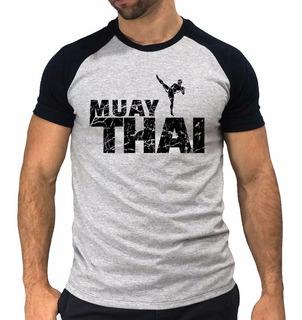 Camiseta Camisa Raglan Muay Thai Arte Marcial Luta Kick Boxe