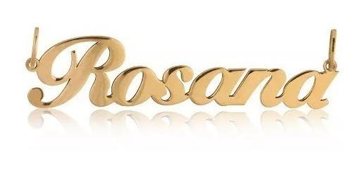 Pingente De Nome Ouro 18k Personalizado Para Cordão Feminino
