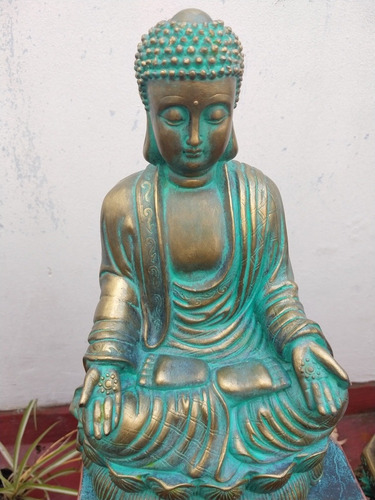 Buda Meditando Flor Loto Símil Bronce Sólo X Pedido Garantía