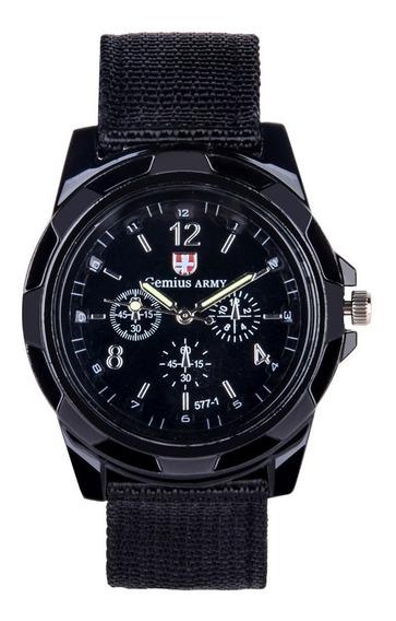 Relógio Masculino Gemius Army Preto Pulseira Nylon Promoção