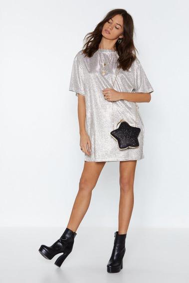 Vestido Brillante Glitter Plateado Oversize Moda Mujer