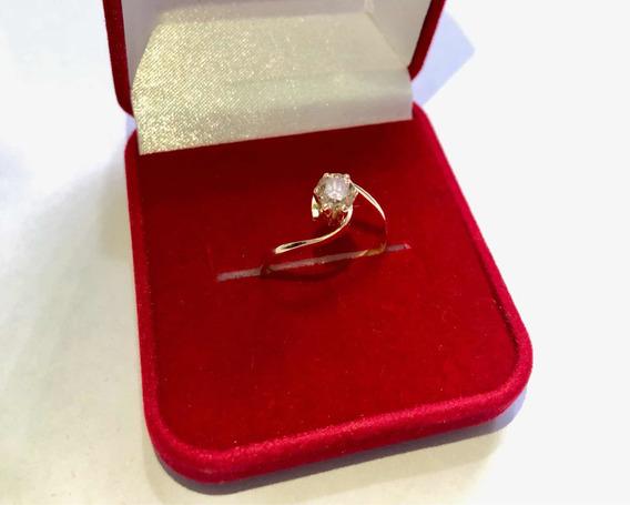 Anel Com Diamante Natural Brum De 56 Pontos Em Ouro 18k