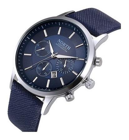 Relógio North Masculino Bonito E Elegante Metal E Couro Azul