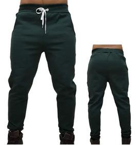 Calça Skinny Moletom Masculina Verde Escuro
