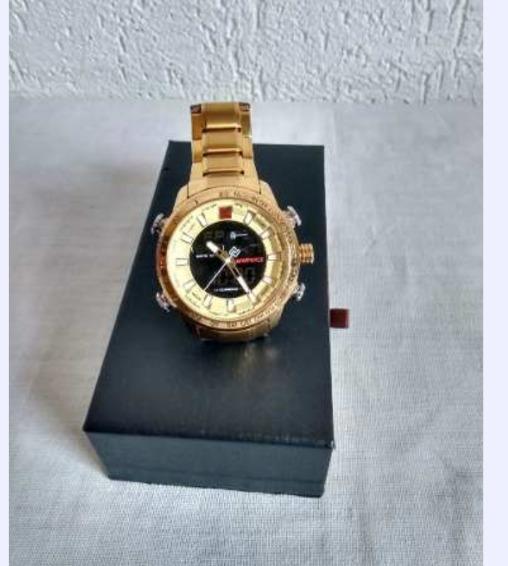Relógio Original Naviforce Aço Inoxidável Dourado