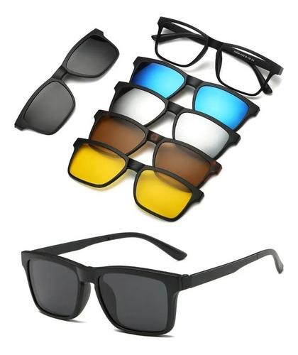 Imagem 1 de 6 de Óculos De Sol Com Armação De Grau Clip On 6 Em 1 Polarizado