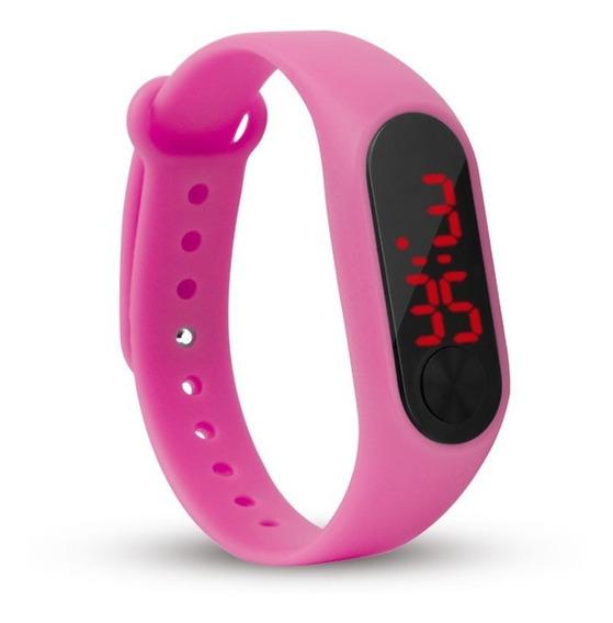 Relógio Digital Esporte Bracelete Led Rosa Pink Feminino