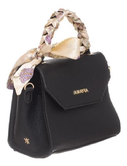 Cartera Amayra Negra De Mano Flap Bag Con Pañuelo