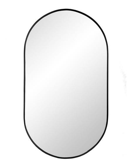 Espejo Ovalado 40 Cm De Colgar Diseño Negro Mate Espesor 3mm