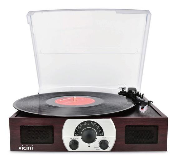 Toca Disco Retrô Vitrola Bluetooth, Usb, Rádio Fm, Sd - Grava Vinil Para Usb - Bivolt - Vicini