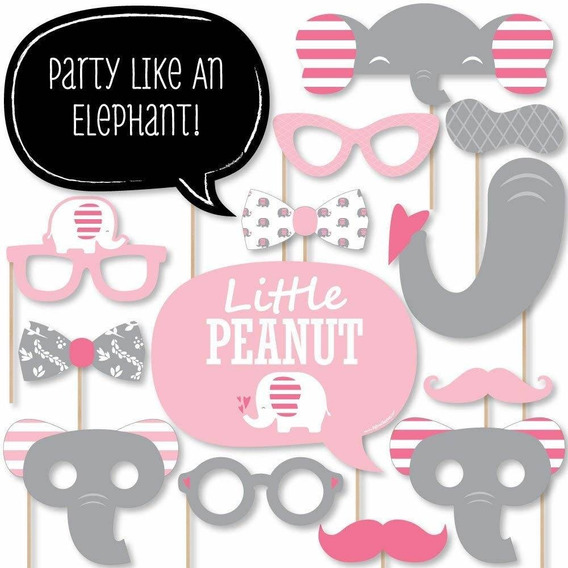 Pink Elephant - Girl Baby Shower Or Birthday Party Photo Boo