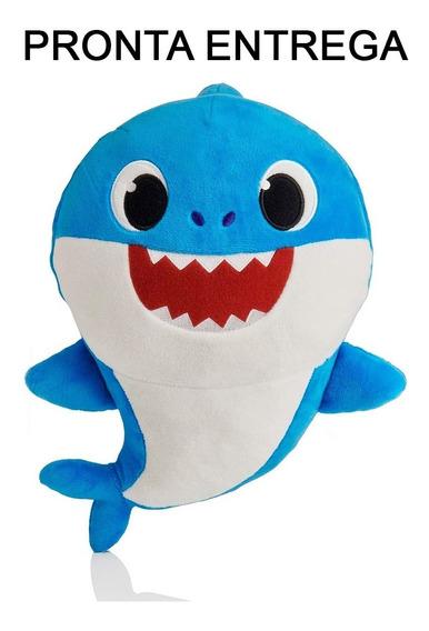 Baby Shark Pelúcia Musical Bebê Tubarão Importado Azul
