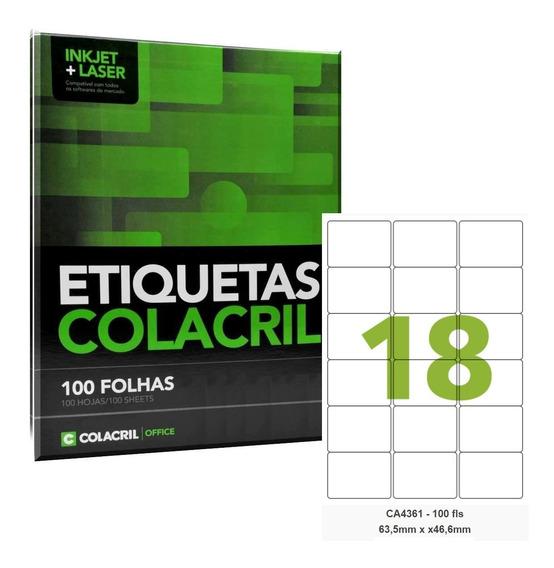 Etiqueta Adesiva A4 Ca4361 63,5 X 46,6 Mm 100folhas Colacril