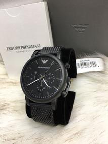 Relógio Empório Armani Ar1968 Aço Malha Black Cronografo Cx