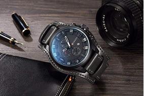 Relógio Masculino Curren Original Couro - Preto