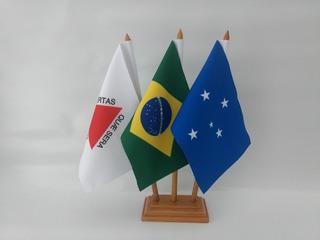 Cruzeiro + Brasil + Minas Gerais Bandeiras De Mesa