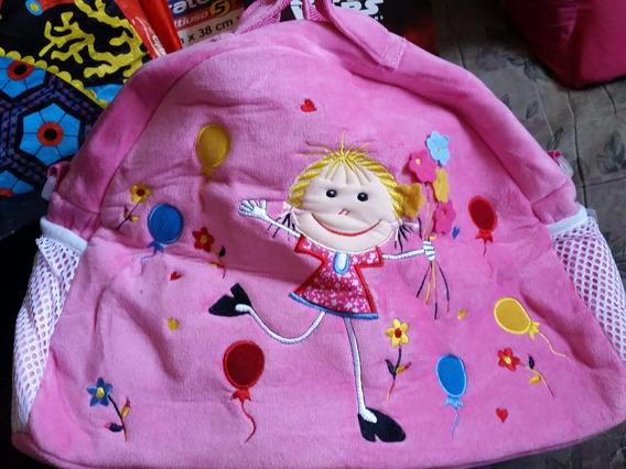 Bolsa Maternidade - Pelúcia Rosa Com Menina Balões Flores