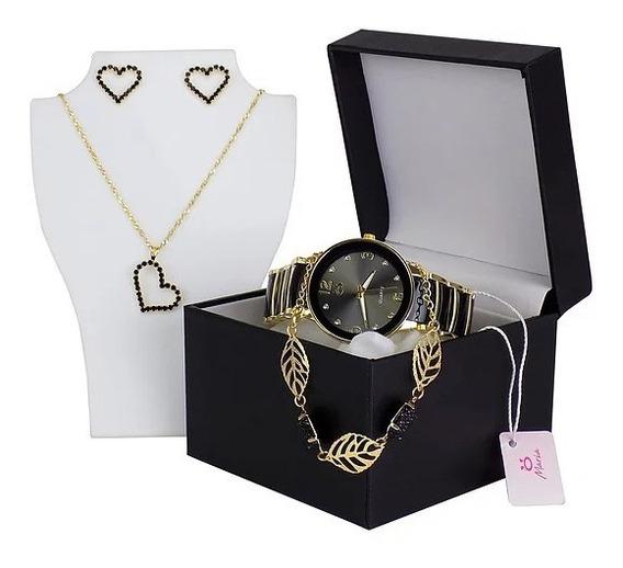 Relógio Feminino Preto Dourado Original + Colar + Pulseira