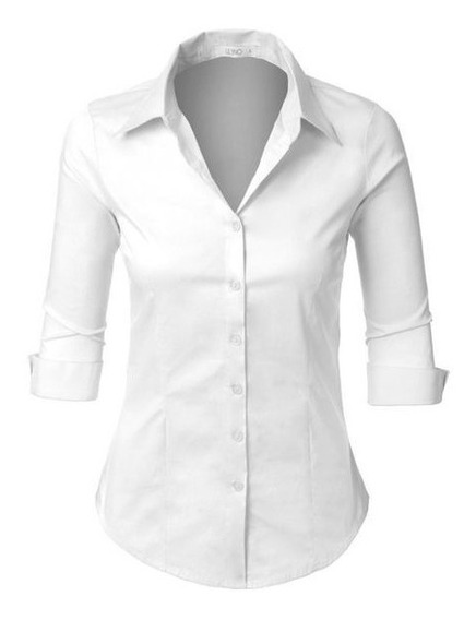 Camisa Manga 3/4 Mujer Blanca Negra Camarera Recepción Hotel