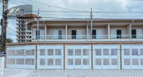 Sobrado Novo, Pronto Para Morar, A 250 M Da Praia, 2 Dormitórios, 1 Vaga De Garagem Em Praia Grande-sp - So0194