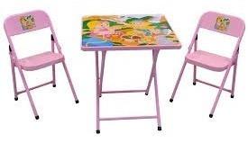 Mesa Infantil Escolar Mesinha Dobravel Com 2 Cadeiras Rosa M