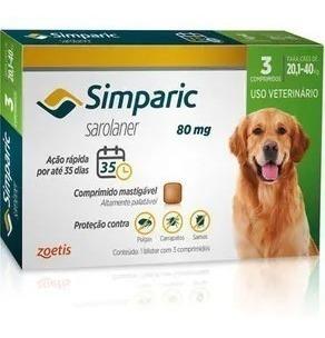 Simparic 80mg 20,1 A 40kg 3 Comprimidos