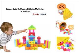 Juego Cubo De Madera Didáctico Multicolor 50 Piezas