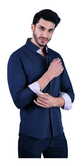 Camisa Porto Blanco Caballero 100% Algodon Azul Marino Lisa