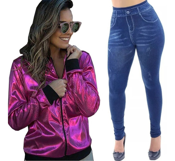 Jaqueta Bomber + Calça Legging Jeans - Super Oferta, Brinde Uma Tiara!