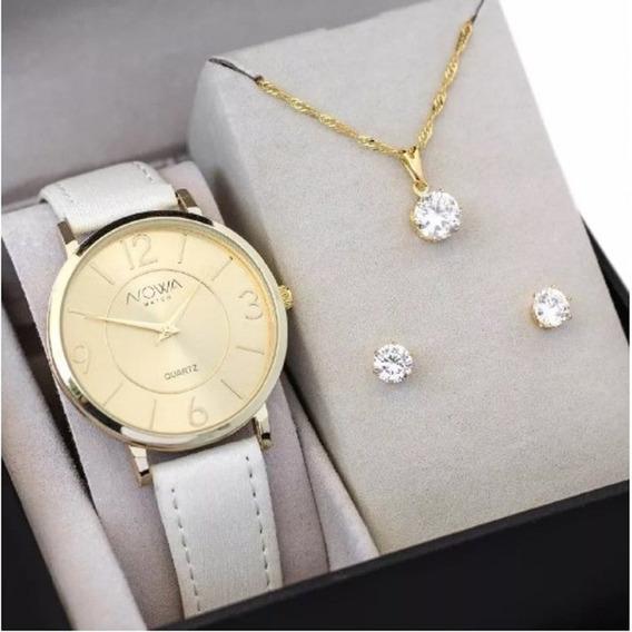 Relógio Feminino Nowa De Courino Branco Nw1411k C/ Kit