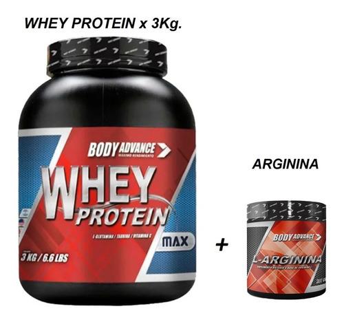 Whey Protein 3 Kg ( Proteína Pura ) + L - Arginina 200 Gr. Body Advance